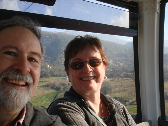 Mom and Dad in the cable car--- don't they look calm?