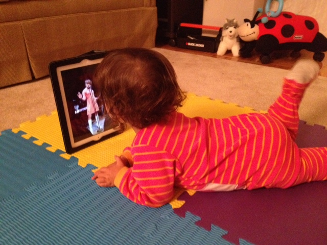 Little Elephant watching video of Miss Martha Graham Cracker's jazz rendition of Green, Eggs, & Ham.