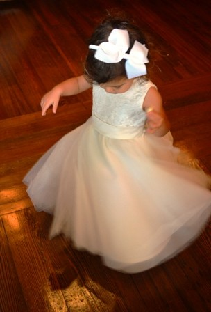 Testing out the flowergirl dress swirl before Tio Calvo's wedding