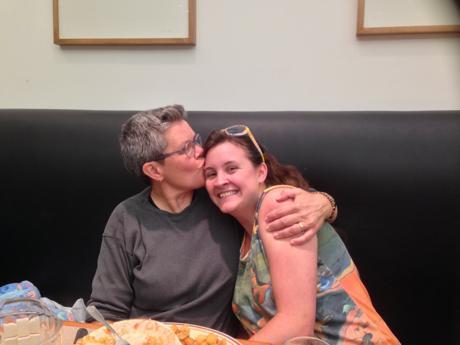 Look! Lesbian Dad kissing me! Ah-Maze-Ing!